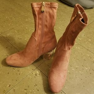 NWT!!! PINK SUEDE ANKLE BOOTS